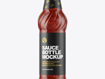 Glass Sauce Bottle with Seeds Mockup