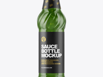 Glass Bottle with Pesto Sauce Mockup