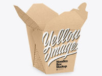 Opened Kraft Paper Noodles Box Mockup - Half Side View