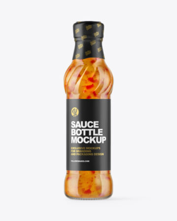 Glass Bottle with Sweet Chili Sauce Mockup