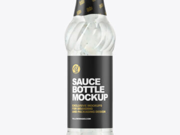 Glass Bottle with Tartar Sauce Mockup