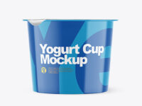 Glossy Plastic Yogurt Cup With Foil Lid Mockup - Front View