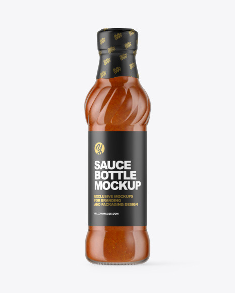 Glass Bottle with Chili Sauce Mockup