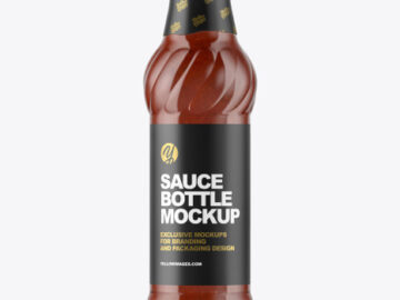 Glass Bottle with Tomato Sauce Mockup