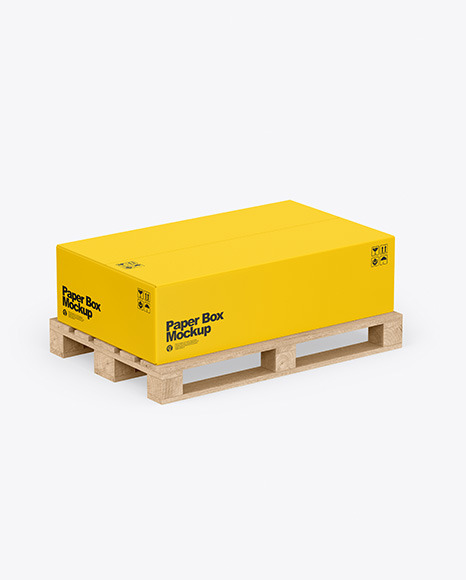Wooden Pallet With Paper Box Mockup