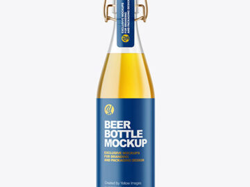 Clear Glass Lager Beer Bottle with Clamp Lid Mockup