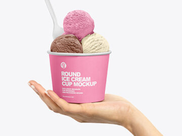Paper Ice Cream Cup in Hand Mockup