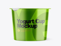 Metallic Yogurt Cup With Foil Lid Mockup - Front View