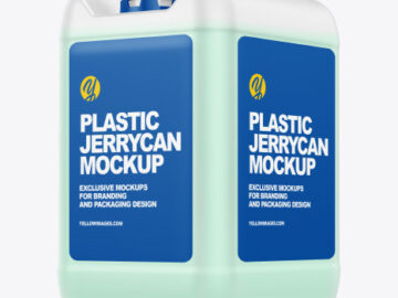 Plastic Jerrycan with Liquid Mockup