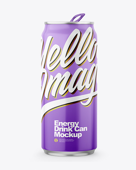 Metallic Drink Can With Glossy Finish Mockup