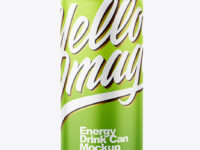 Metallic Drink Can With Matte Finish Mockup
