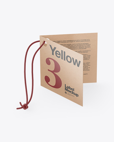 Kraft Folded Label With Rope Mockup