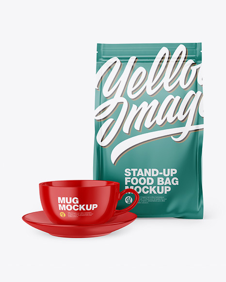 Matte Stand-Up Bag with Coffee Mug Mockup