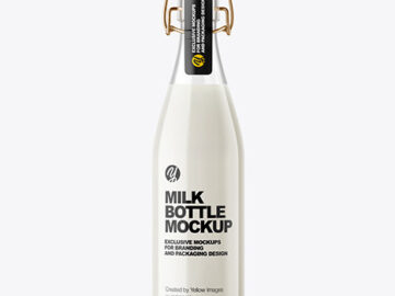 Clear Glass Milk Bottle with Clamp Lid Mockup