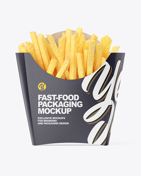 Matte Paper Medium Size French Fries Packaging Mockup  - Front View