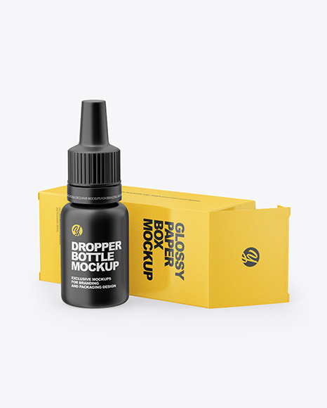 Matte Dropper Bottle with Glossy Paper Box Mockup