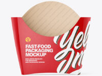 Matte Paper Fast-Food Packaging Small Size Mockup  - Front View
