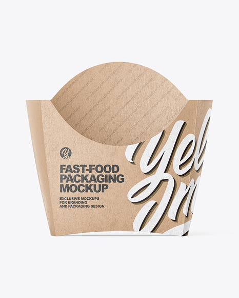 Kraft Paper French Fries Small Size Packaging Mockup  - Front View