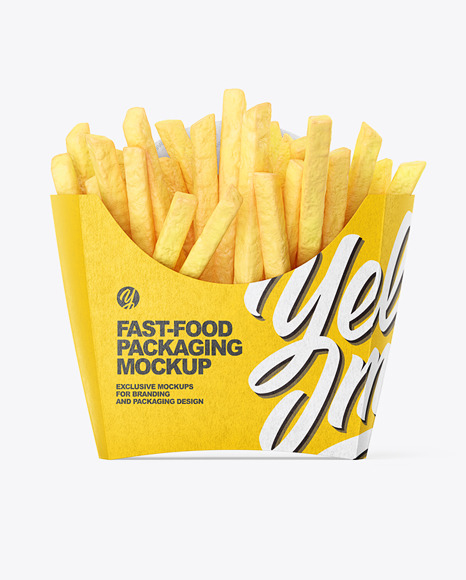 Kraft Paper Small Size French Fries Packaging Mockup  - Front View