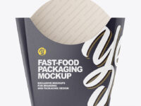 Matte Paper Medium Size Fast-Food Packaging Mockup - Front View