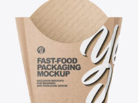 Kraft Paper French Fries Medium Size Packaging Mockup  - Front View