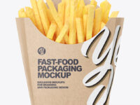 Kraft Paper Medium Size French Fries Packaging Mockup - Front View