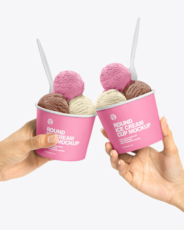 Paper Ice Cream Cups in Hands Mockup