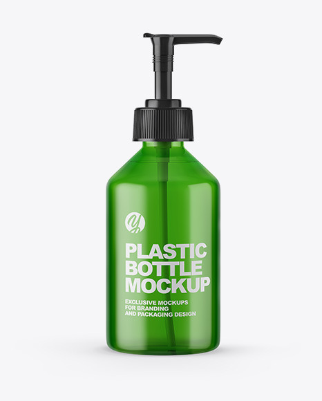 Blue Cosmetic Bottle with Pump Mockup