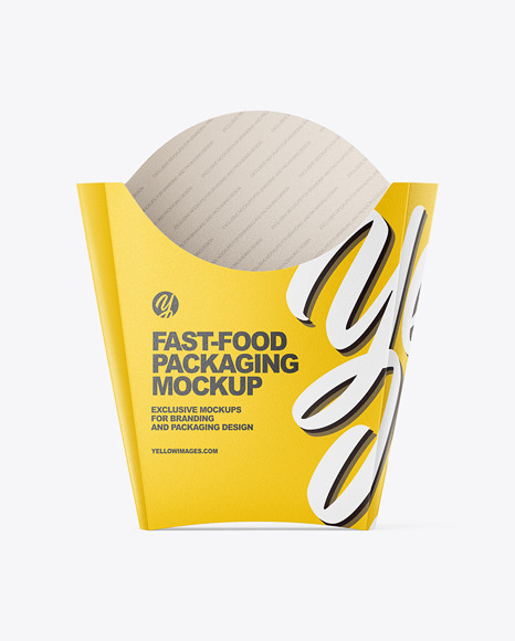 Matte Paper Large Size Fast-Food Packaging Mockup - Front View