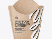 Kraft Paper French Fries Large Size Packaging Mockup  - Front View