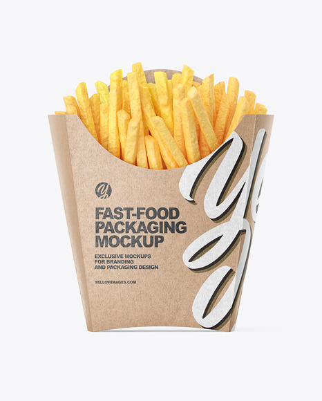Kraft Paper Large Size French Fries Packaging Mockup - Front View