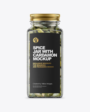 Spice Jar with Cardamon Mockup