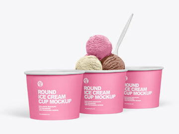 Paper Ice Cream Cups Mockup