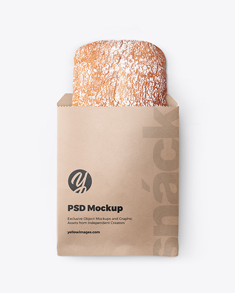 Paper Pack with Ciabatta Bread Mockup