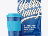Glossy Stand-Up Bag with Coffee Cup Mockup