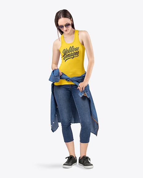 Woman in Tank Top and Jeans Mockup