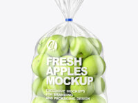 Plastic Bag with Green Apples Mockup