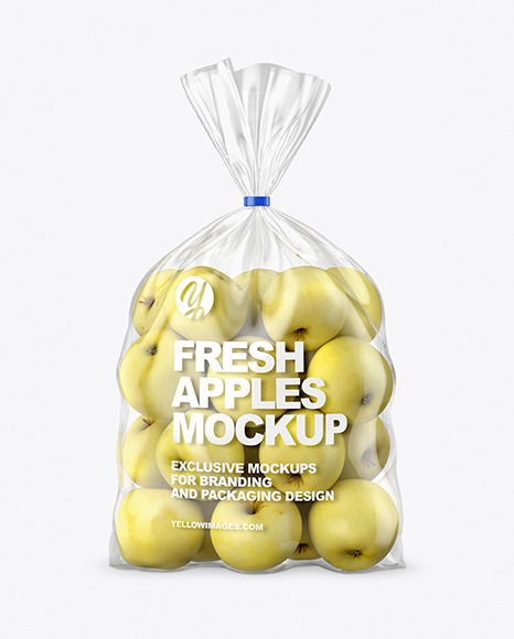 Plastic Bag with Yellow Apples Mockup