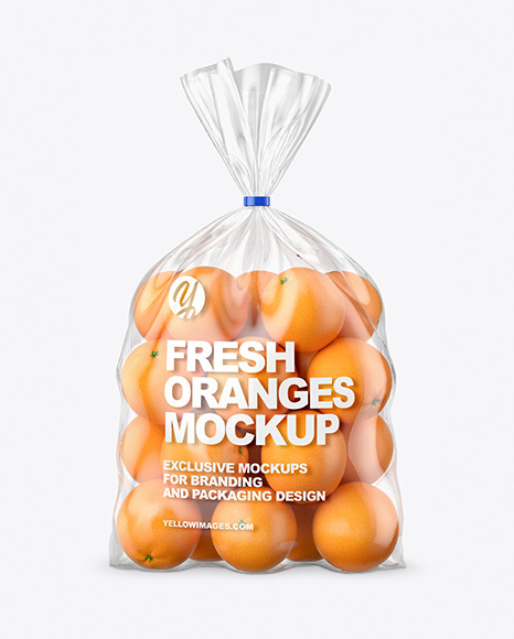 Plastic Bag with Oranges Mockup