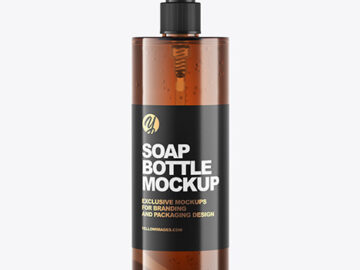 Amber Soap Bottle with Pump Mockup