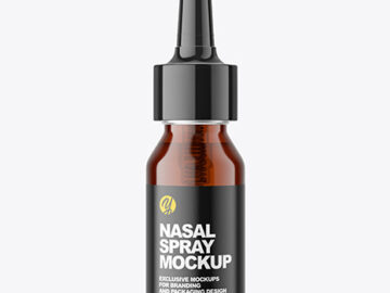 Amber Nasal Spray Bottle Mockup