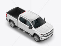 Full-Size Pickup Truck Mockup - Half Side View (High-Angle Shot)