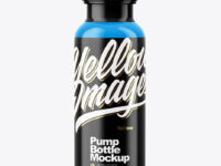 Glossy Bottle With Pump Mockup