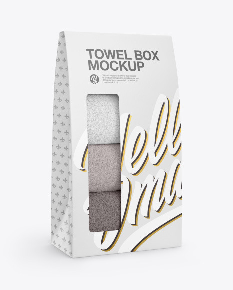 Box with Towels Mockup