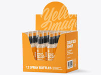 Display Box with Clear Spray Bottles Mockup