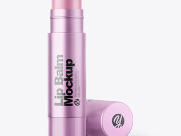 Metallic Lip Balm Tube Mockup