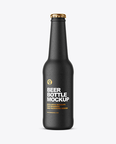 Black Ceramic Beer Bottle Mockup