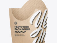 Kraft Paper French Fries Small Size Packaging Mockup - Half Side View