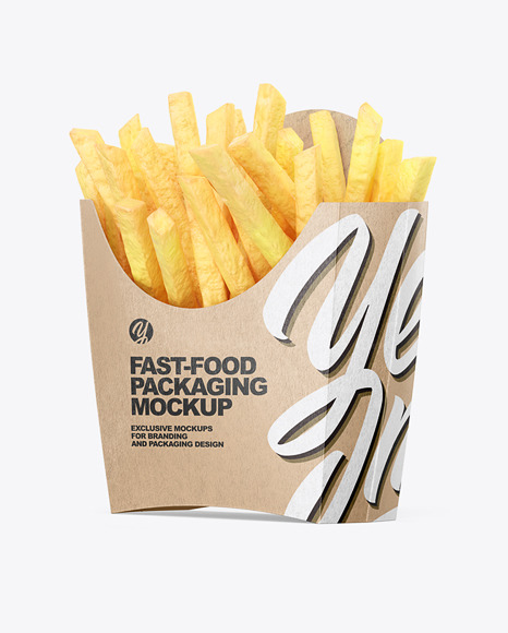 Kraft Paper Small Size French Fries Packaging Mockup - Half Side View