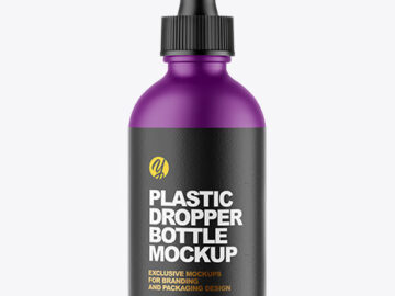 Matte Plastic Dropper Bottle Mockup